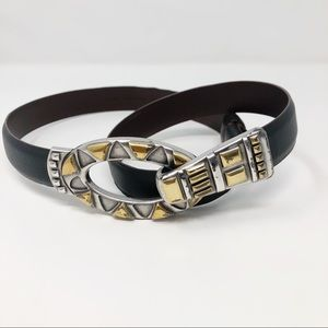 Chico's Metal Hook Front Adjustable Leather Belt S